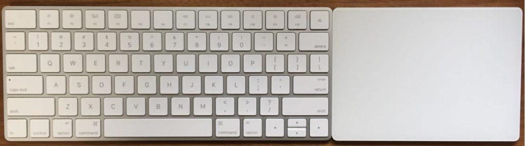 Magic KeyboardとTrackPad2の高さが揃っている